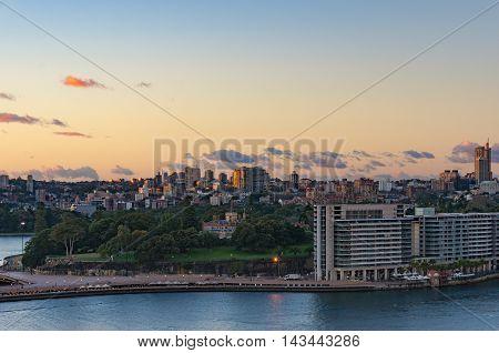 Royal Botanic Gardens with Potts Point and Woolloomooloo suburbs on the background. Circular Quay Sydney Australia