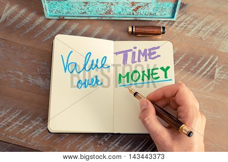 Handwritten Text Value Time Over Money