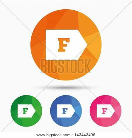 Energy efficiency class F sign icon. Energy consumption symbol. Triangular low poly button with flat icon. Vector