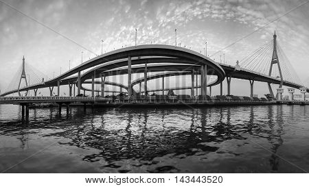 Black and White, Suspension bridge panorama over watergate river front