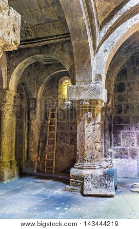 DILIJAN ARMENIA - MAY 31 2016: The scenic stone interior of renovated Refectory in Haghartsin Monastery on May 31 in Dilijan.
