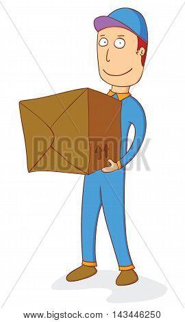 illustration of a man delivering order box