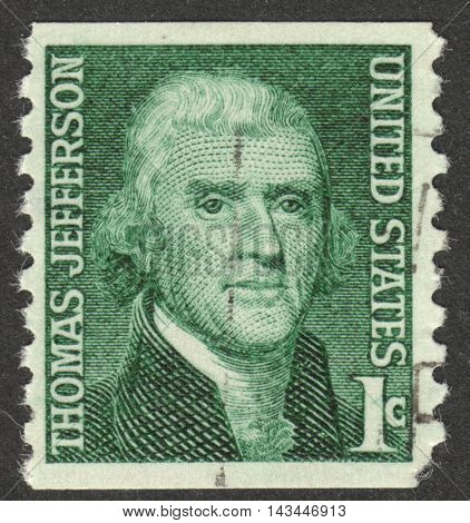 MOSCOW RUSSIA - CIRCA JULY 2016: a post stamp printed in the USA shows a portrait of Thomas Jefferson the series