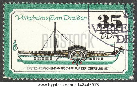 MOSCOW RUSSIA - CIRCA JUNE 2016: a post stamp printed in DDR shows a personal steamboat the series