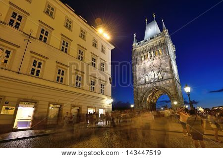 PRAGUE CZECH REPUBLIC - AUGUST 08 2016: Night scene of old town and Charles bridge on August 08 2016 in Prague. Prague is the capital and largest city of the Czech Republic