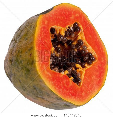 Exotic tropical fruit papaya isolated on a white background, vegetarian