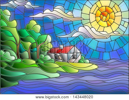 The image in the stained glass style landscape with a lonely house on a background of sky and sea