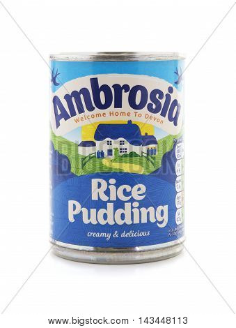 SWINDON UK - AUGUST 20 2016: Tin of Ambrosia rice pudding on a white background