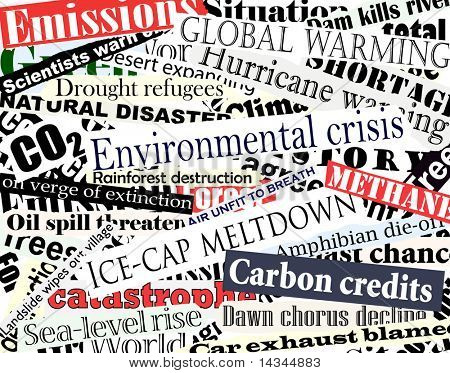 Illustration of newspaper headlines on an environmental theme