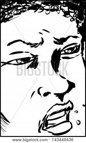 Annoyed Close Up Face As Outline