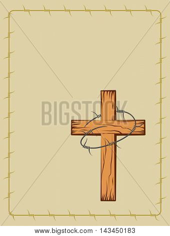 Wooden Christian Cross With Barbed Wire Vector Art