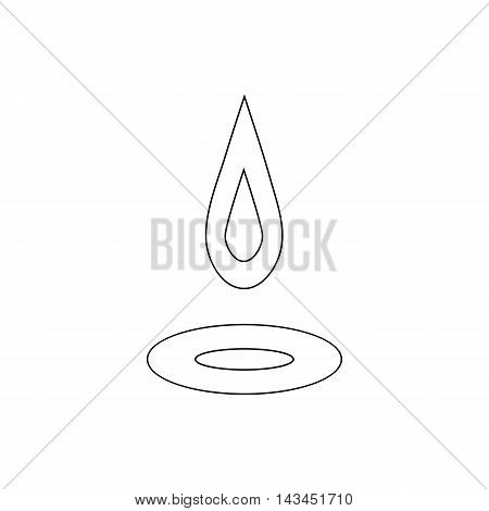 Water drop and spill icon in outline style isolated on white background