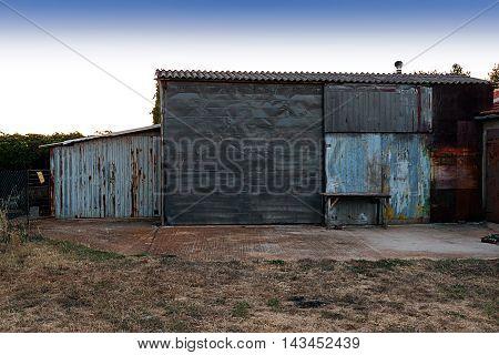 An old makeshift barn on a farm in Croatia