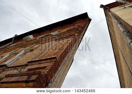 Corner of the old triangular brick dwelling house