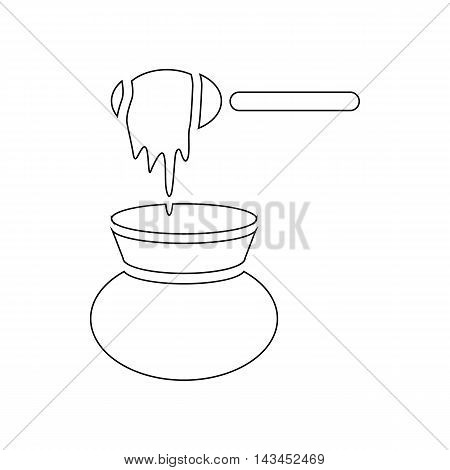 Jar of honey with wooden drizzler icon in outline style isolated on white background