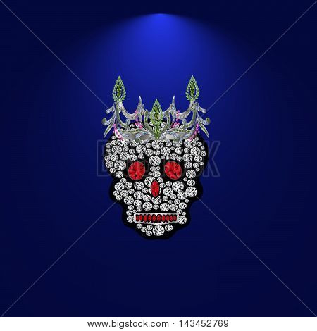 Skull of precious stones on a blue background. With tiara of brilliantov.Vektor illustration.
