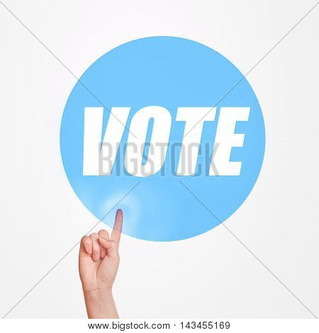 Vote on elections concept finger pushing button promoting idea of taking participation in political rally