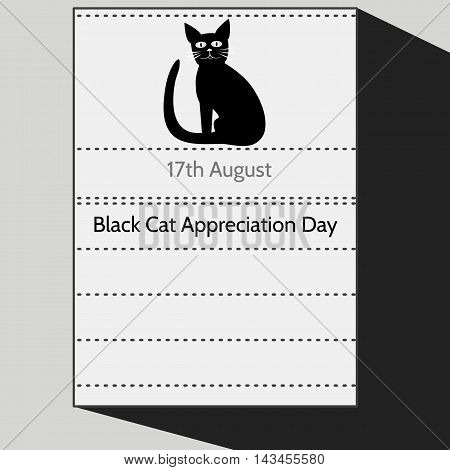 Black Cat Appreciation Day - Stylized calendar letter of 17th August with sitting tomcat silhouette. Black white gray cartoon illustration.