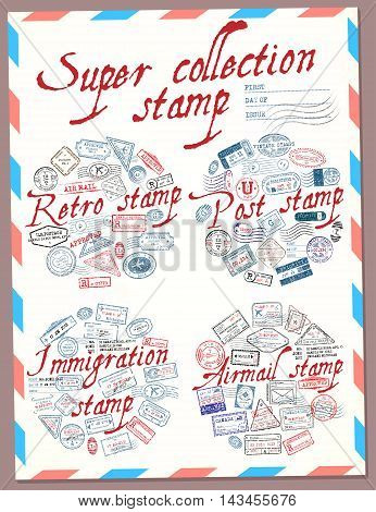 Super collection stamp. Retro post immigration and airmail stamp. Stamps. Vector illustration