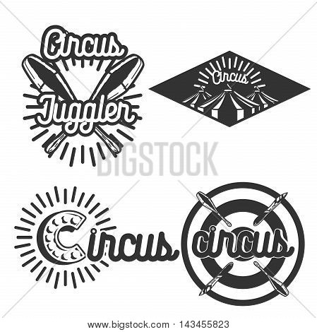 Set of circus labels. Elements for design on the circus theme. Collection of circus symbols. Modern labels of circus. Emblems and logos of circus. Vector illustration