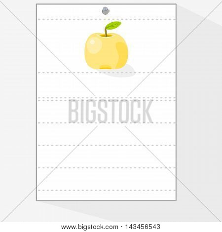 A sheet of paper from a workbook to which something can be attributed, with the image of yellow apple.