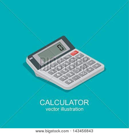 Icon of the calculator in isometric style. The device for mathematical calculations used in business schools colleges offices and other computing work. Vector realistic illustration.