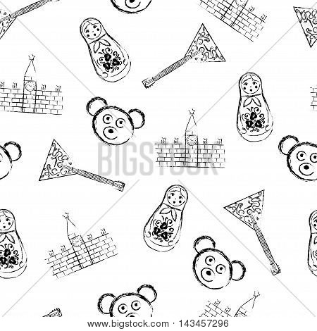 Russian symbols icons seamless pattern with matryoshka, bear, balalaika, kremlin. Vector
