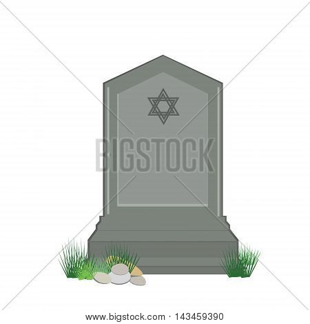Vector illustration grey gravestone with David star isolated on white background. Flat tombstone icon. Jewish cemetery