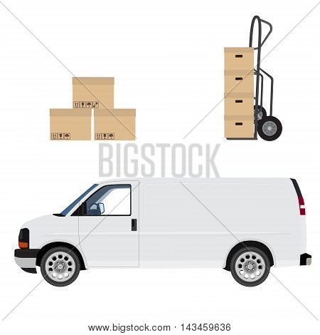 Delivery icon set. White delivery van hand truck and carton boxes. Express delivery.