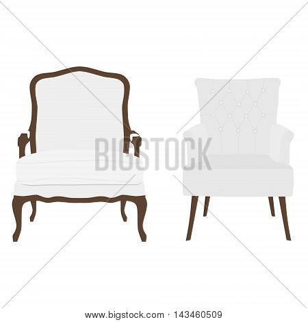 Vector illustration set of vintage and modern white armchairs. Two elegant realistic armchair