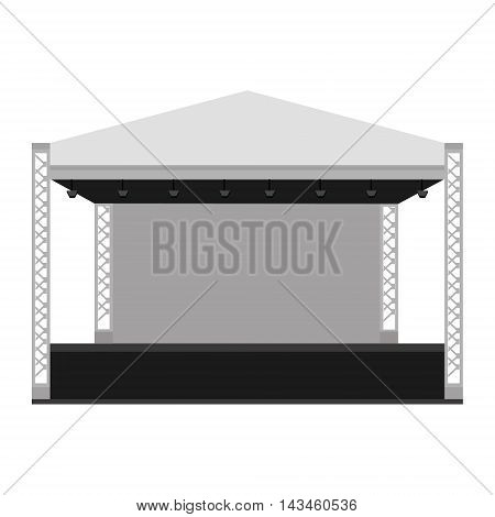 Vector illustration outdoor concert stage truss system. Podium concert stage. Performance show entertainment scene and event.