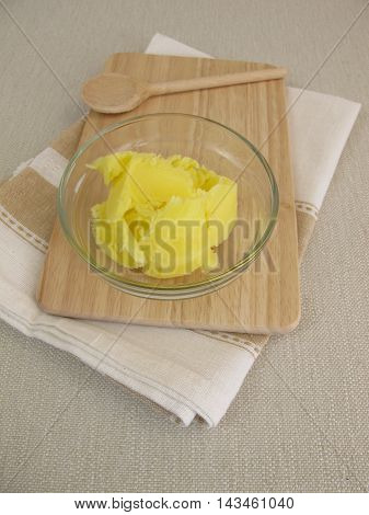 Clarified butter at room temperature in bowl