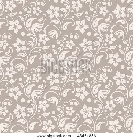 Beige floral background. leafs and dots seamless vector. Tender colors textile pattern. Damask print.