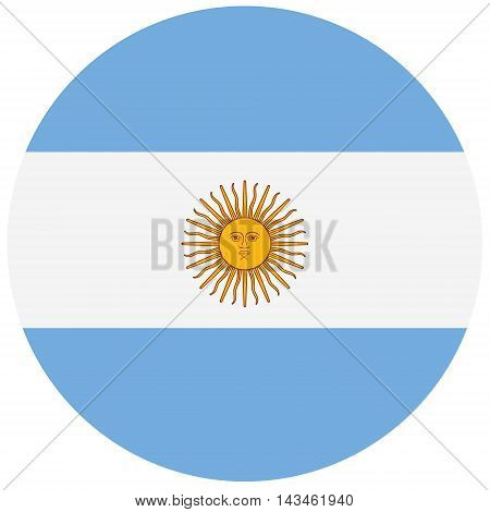 Round Argentina flag vector icon. Argentina flag button