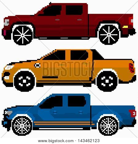 colored cars collection vector pixel art vector illustration abstract high quality