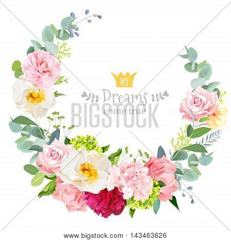 Cute wedding floral vector design round frame. Rose burgundy red peony pink and green hydrangea camellia carnation pink flowers eucaliptus leaves. Crescent shape bouquet.