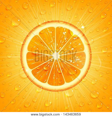 the refreshing orange background with water drops