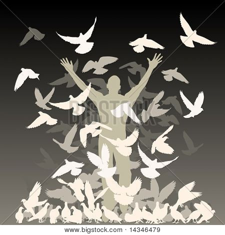 Vector silhouette of a man and flock of pigeons with all elements as separate objects