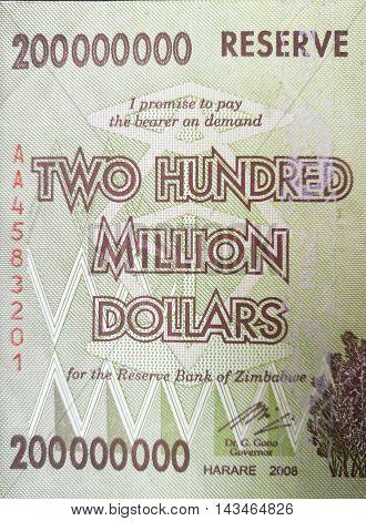 Close up of Zimbabwe bank note money