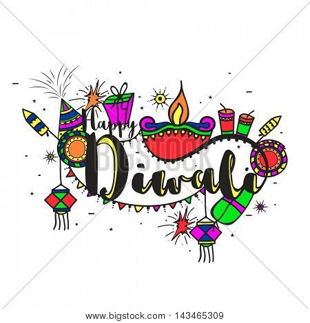 Stylish Text Diwali with colourful creative elements, Vector Typographical Background, Beautiful Greeting Card for Indian Festival of Lights Celebration.