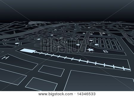 Illustrated street map of a generic city at night