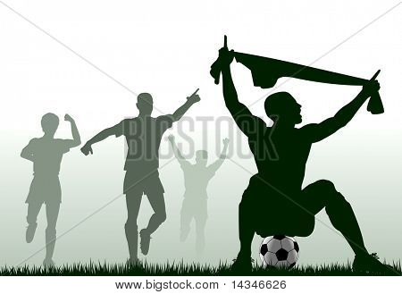 Editable vector silhouette of a soccer player celebrating a goal plus team-mates