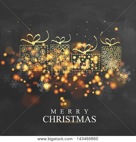 Creative golden gift boxes made by snowflakes, stars and spirals, Beautiful glowing festive background, Can be used as Greeting Card, Invitation, Poster, Banner or Flyer design for Merry Christmas.