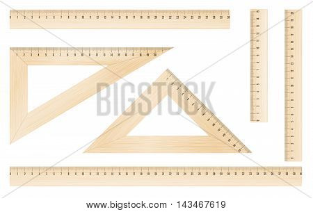 Wooden rulers and triangles set with metric mm grade. Vector objects
