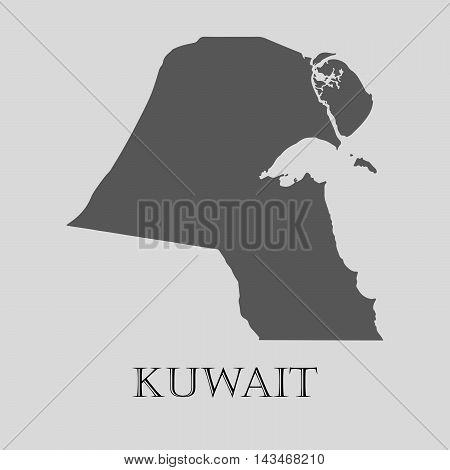 Simple gray Kuwait map on light grey background. Gray Kuwait map - vector illustration.