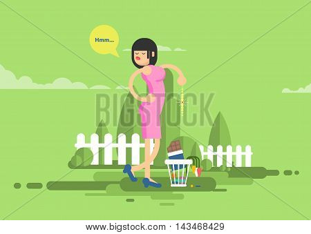 Stock vector illustration of sad dissatisfied woman throwes presents, jewelry, chocolate, flowers in garbage in flat style