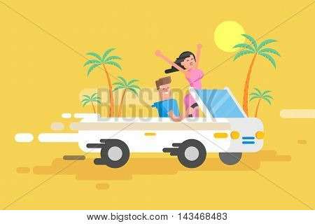 Stock vector illustration happy guy drives a white convertible, man and joyful brunette woman rushes by car among a palm trees on a yellow background, cheerful couple on vacation in a flat style