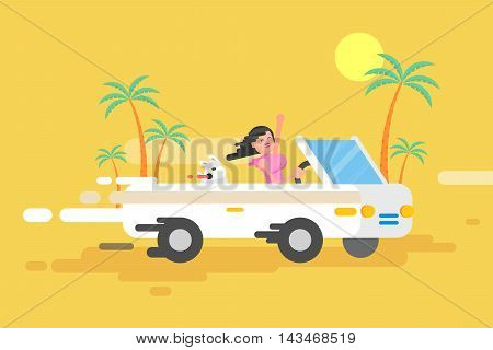 Stock vector illustration happy brunette girl drives a white convertible, woman and her dog rushes by car among a palm trees on a yellow background in a flat style