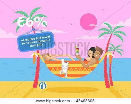 Stock vector illustration of happy tanned couple with a dog on vacation, man and woman rests in a hammock between two palm trees on the coast, the guy holding a cocktail on the beach in the flat style