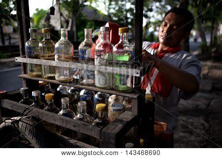 Bali, Indonesia - Feb 4, 2014 : sale of petrol on the road